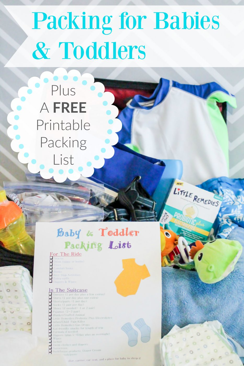 Taking a trip with a toddler or baby? Learn about our hilarious travel tales with our kids and what we suggest packing. Plus a free printable!