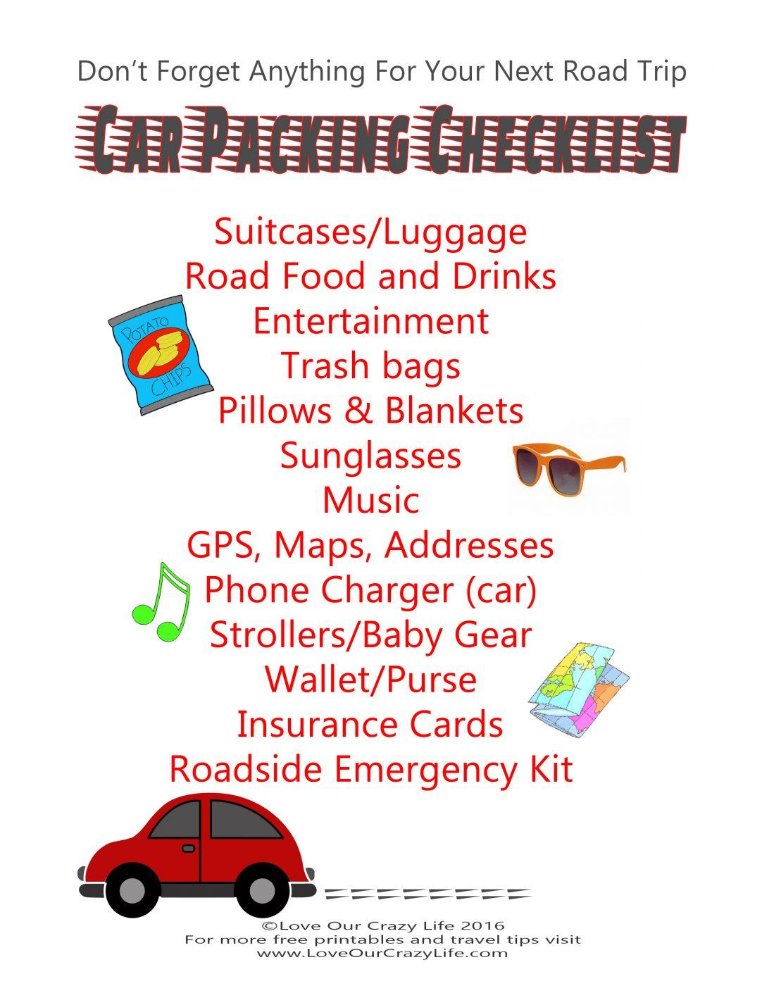 Free Car Packing Checklist