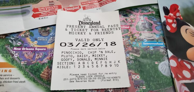Disneyland Parking Receipt