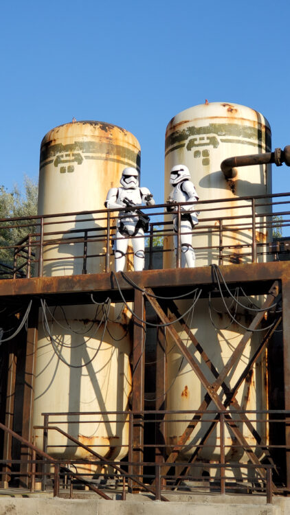 Storm troopers up above the First Order area in Batuu at Star Wars Galaxy's Edge in Disneyland