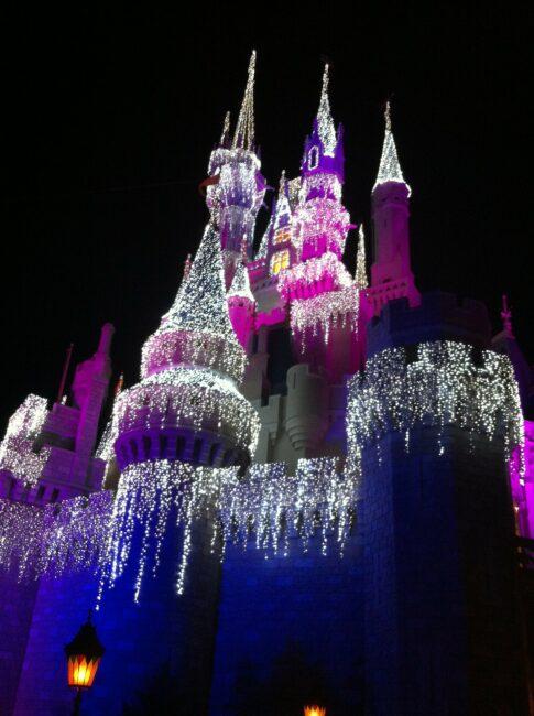 Cinderella Castle with Christmas lights at night at Walt Disney World