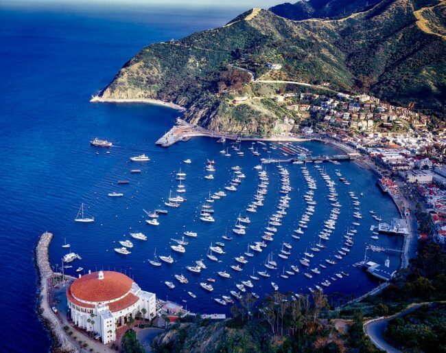 boats in bay at Catalina Island in California