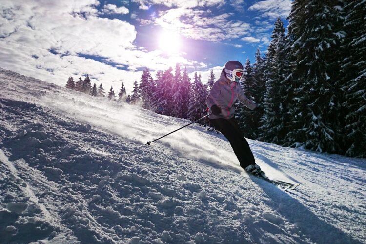 girl skiing on mountain