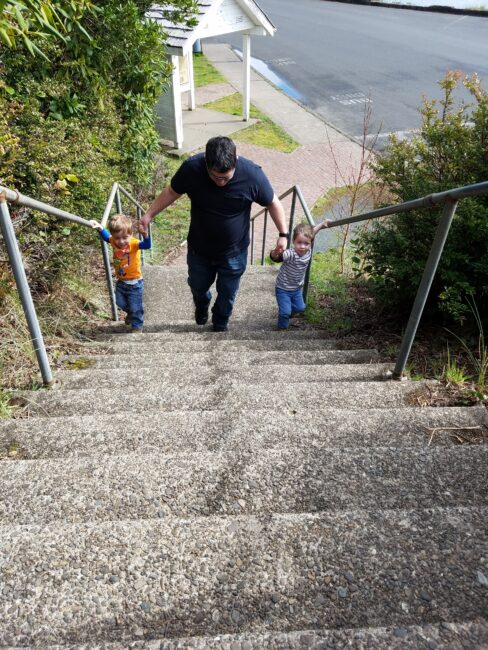 Stairs to get to Yaquina Bay Lighthouse