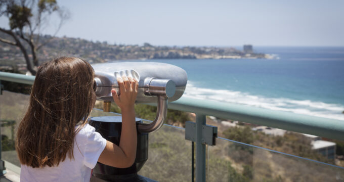 San Diego with Girl looking out view finder
