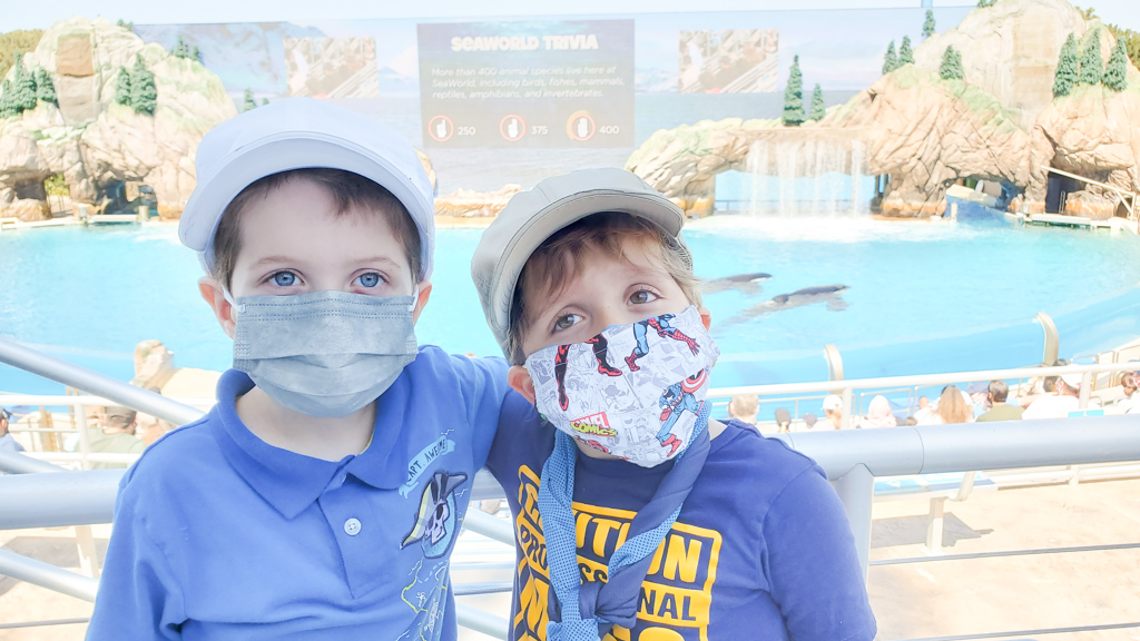 Two young boys wearing masks posing in front of the Orca Show at SeaWorld.