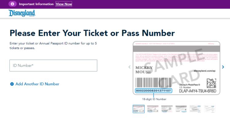 Screenshot of Disneyland site to add tickets to Disneyland Account