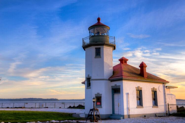 Alki Point Lighthouse at Sunset